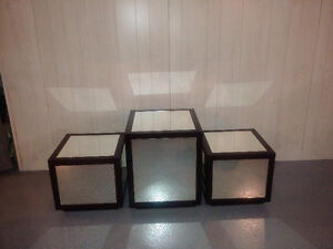 mirror end tables/coffee table