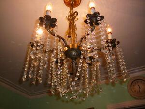 """super lustre 6feux vtg/1940 style Louis XVI 22"""", bronze, cristal"""