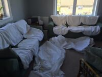 TWO sets of white covers for IKEA Ektorp three seater sofa
