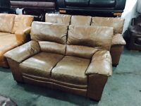 As new tan leather 3 and 2 sofas