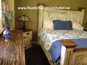 ⭐ Rustic pine white wash antique queen bed ⭐