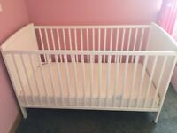 White wooden cotbed with Mattress