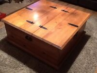 Large solid coffee table. Chest table. Storage. SOLID. WOOD.