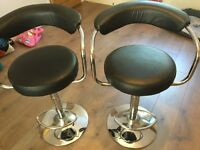 Pair of breakfast bar stools faux black leather chrome adjustable height