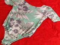 MISSGUIDED mint green and white body size 10