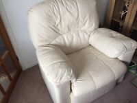 Large cream leather arm chair