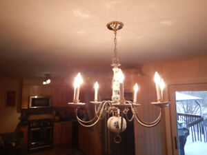 Vintage Pewter/Porcelain Chandelier 8 Light MINT CONDITION
