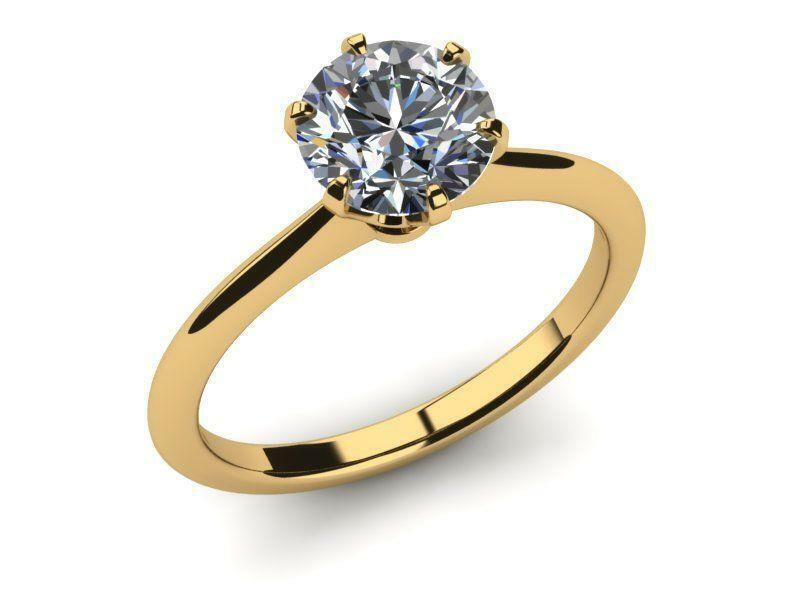 Si1 Solitaire 18k Yellow Gold 1 Ct Diamond Round Brilliant Ring 6 Prong Ladies
