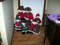 6 Christmas Fabric Snowmen, Mom, Dad, Grampa,Gramma, 2 Children
