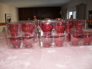 Lot of 34 Ruby Red Glass Candle Holders