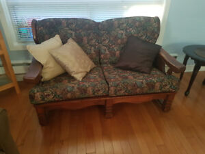2 Seater couch and 1 sofa chair with newly upholstered cushions