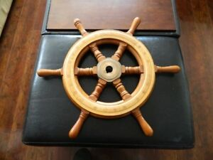 WOODEN AND BRASS SHIP WHEEL