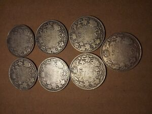 Canadian 50 Cent Coins (7) 1920 coins
