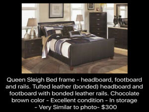 REDUCED! Sleigh Bed frame - headboard, footboard & boxspring