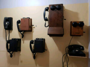 Various antique and vintage telephones