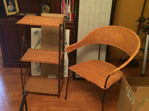 Matching wicker accent table and chair (Orig Pier 1)