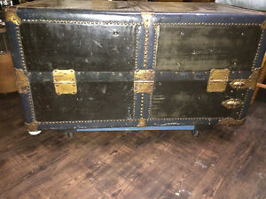 Vintage Leather/Brass Steamer Wardrobe Trunk