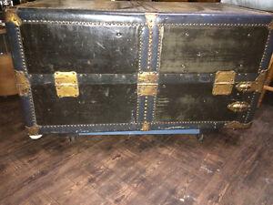 Vintage Leather/Brass Steamer Wardrobe Trunk