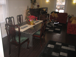 GRANITE Dining Table & 8 Chippendale Chairs