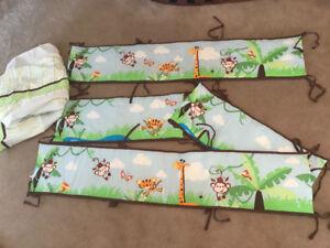 Jungle themed crib nursery set