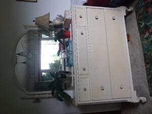 Antique wood dresser, painted white, shabby chic