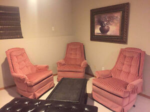 THREE PINK STRIPED ROCKING CHAIR FOR SALE