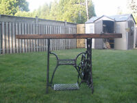 singer sewing machine and barn board hall/sofa table