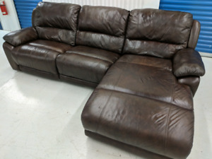 Auto   Reclining Leather Sofa with Chaise Lounge FREE DELIVERY