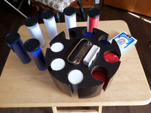 Poker chips and chip holder