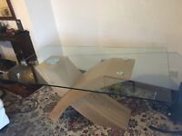 Retro glass top oak dining table