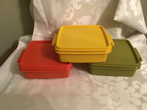 3 Retro 1970's Tupperware Storage containers Orange Green Yellow