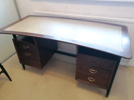 Vintage beautiful writing desk with leather inlay top details