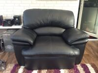 x1 Real Black Leather armchair