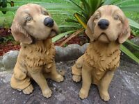 2 Matching Golden Retriever Stone Dog Garden Balcony Porch Ornaments