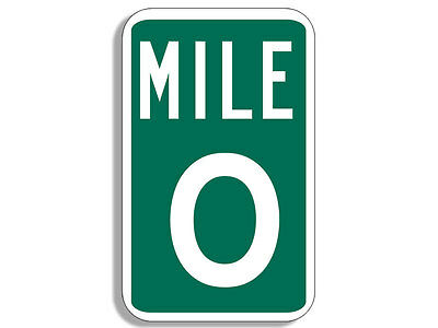 3x5 inch GREEN Mile Marker 0 Sign Shaped Sticker - hike hiking hiker rv zero run