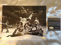 Johnny Bower Autographed 8x10 Photos and White Jersey #1