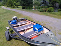 12 ft aluminum boat with 9.9 and trailer