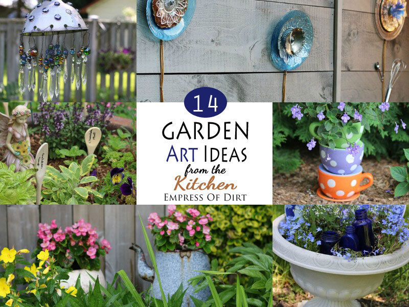 Garden Art Ideas 12 ideas how to create unique garden art from junk Use Unwanted Kitchen Items To Make Garden Art