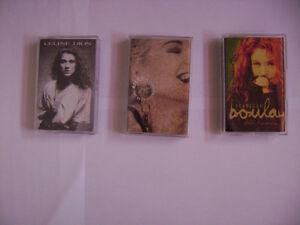 trois cassettes céline dion ,  isabelle boulay et marjo