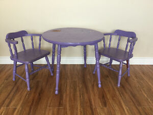 Child's solid wood table and 2 chairs