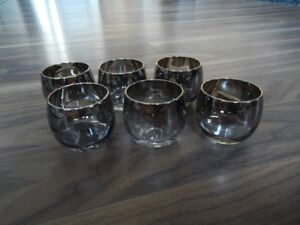*Vintage* Silver Luster Roly Poly Glasses (x6)