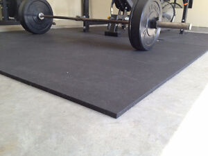"Premium Rubber Exercise Mats - Sized 4' x 6' x 1/2""."