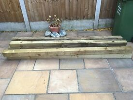 Treated wood 100mmX100mm x2.4metres timber 6off make an offer!