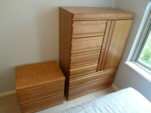 PALLISER armoire and night table set, medium oak colour