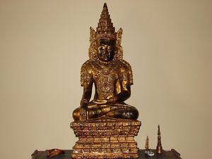19thCentury Burmese Temple Buddha in Royal Attire(Asian Antique)