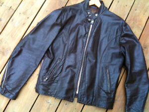 Men's Brown Leather Cafe Motorcycle Jacket (70s)