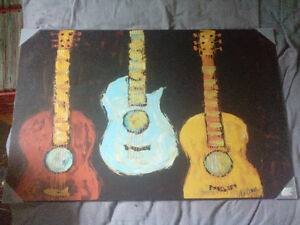 Painting Guitars Wood Hardback Poster