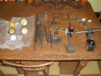 Lot of dial gauges and magnetic blocks rods fixtures Machinist