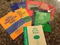 7 ASSORTED FLUTE BOOKS & MUSIC CARRY BAG