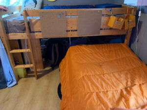 Solid wood bunk beds or junior loft bed with dresser & bookcases